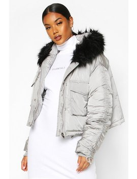 Crop Ruched Sleeve Faux Fur Trim Puffer by Boohoo