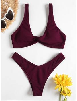 Popular Sale Low Rise Textured Twist Bikini Set   Red Wine M by Zaful