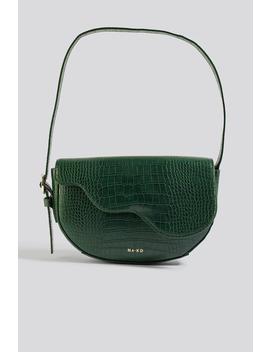 Half Moon Saddle Flap Shoulder Bag Green by Na Kd Accessories