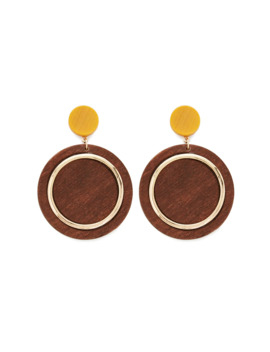 Metal Trim Wood Drop Earrings by Forever 21