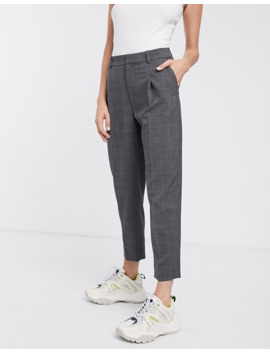 & Other Stories Tapered Check Trousers In Grey by & Other Stories