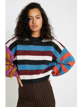 Uo Lydia Spliced Balloon Sleeve Jumper by Urban Outfitters