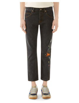 Men's Embroidered Washed Denim Jeans by Gucci