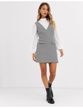 Miss Selfridge 2 In 1 Dogtooth Pinafore Dress In Monochrome by Miss Selfridge