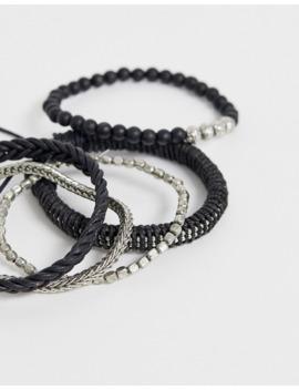 Asos Design   Set Van Gevlochten Armbanden Van Gemixt Metaal by Asos Design