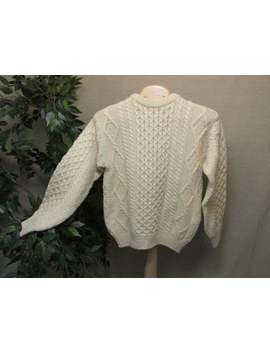 Vintage Nwot Arancrafts Irish Wool Celtic Ivory Fisherman Cableknit Sweater Unisex S Made In Ireland by Etsy