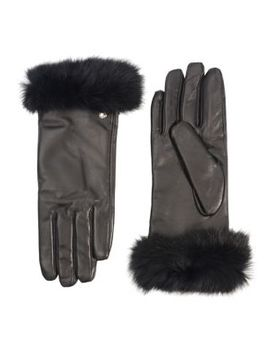 Faux Fur Trim Leather Gloves by Club Rochelier