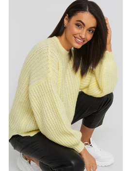 Crew Neck Knitted Sweater Gelb by Trendyol