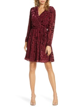 Velvet Burnout Long Sleeve Faux Wrap Dress by Fraiche By J