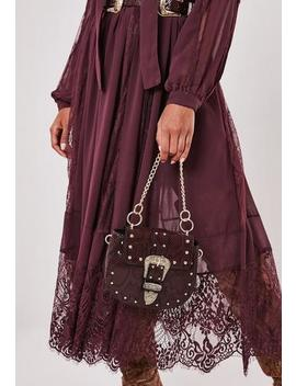 Burgundy Snake Print Western Buckle Handbag by Missguided