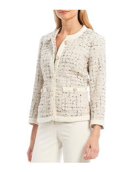 Metallic Space Dye Tweed Novelty Trim Jacket by Anne Klein
