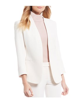 Stretch Refined Twill Open Front Cardigan Jacket by Anne Klein
