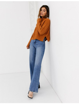 Topshop Crop Jumper With Roll Neck In Camel by Topshop