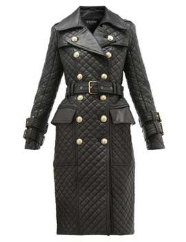 Double Breasted Quilted Leather Trench Coat by Balmain