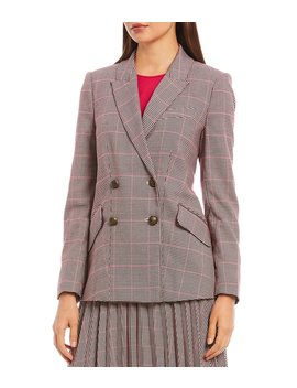 Double Breasted Stretch Houndstooth Blazer by Court & Rowe