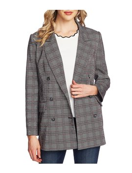 Menswear Plaid Notch Collar Double Breasted Blazer by Ce Ce