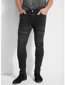Coated Moto Skinny Jeans by Guess