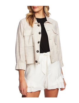 Linen Button Front Cropped Jacket by Ce Ce