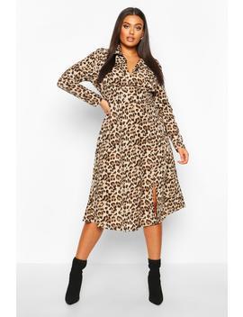 Plus Leopard Shirt Midi Dress by Boohoo