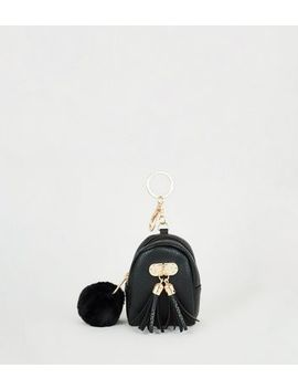 Black Pom Pom Coin Purse Keyring by New Look