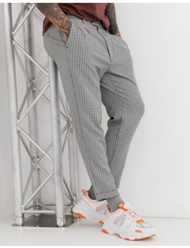 Pull&Bear Dogtooth Trouser In White by Pull&Bear