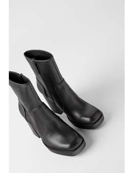 Leather Ankle Boots With Bell Heel by Zara