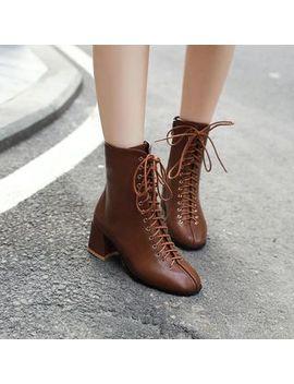 Megan   Faux Leather Block Heel Short Boots by Megan
