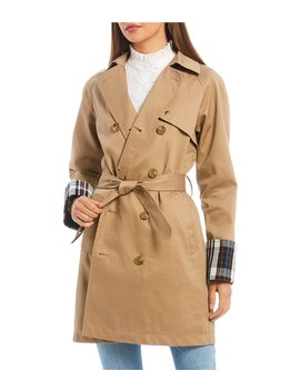 Plaid Lined Classic Cotton Trench Coat by Court & Rowe