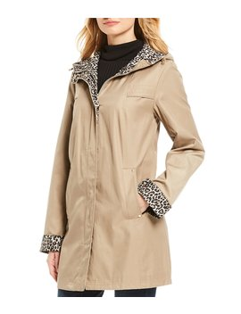 Leopard Print Hood Rain Coat by Jones New York