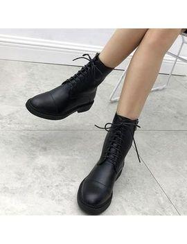 Dewa   Block Heel Lace Up Short Boots by Dewa