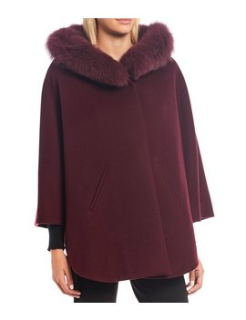 Wool Cape With Genuine Fox Fur Hood by Katherine Kelly