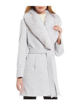 Fox Fur Shawl Collar Short Wrap Coat by Katherine Kelly