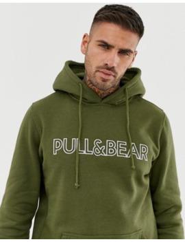 Pull&Amp;Bear Logo Hoodie In Khaki by Pull&Bear