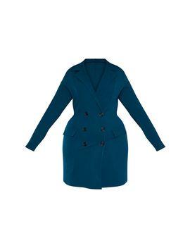 Plus Emerald Green Button Detail Blazer Dress by Prettylittlething