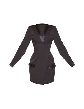 Black Shoulder Pad Satin Insert Blazer Dress by Prettylittlething