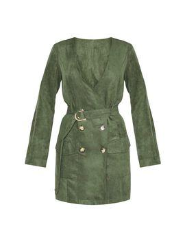 Khaki Faux Suede Tortoise Button Buckle Blazer Dress by Prettylittlething