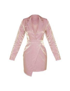Dusty Pink Metallic Shimmer Plunge Wrap Detail Blazer Dress  by Prettylittlething