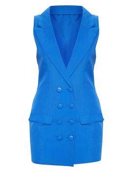 Cobalt Extreme Plunge Sleeveless Blazer Dress by Prettylittlething