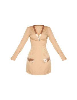 Nude Shoulder Pad Satin Insert Blazer Dress by Prettylittlething