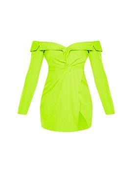 Lime Bardot Knot Detail Blazer Dress by Prettylittlething