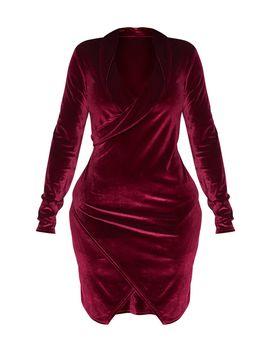 Shape Burgundy Velvet Blazer Dress by Prettylittlething