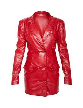 Maroon Faux Leather Blazer Dress by Prettylittlething