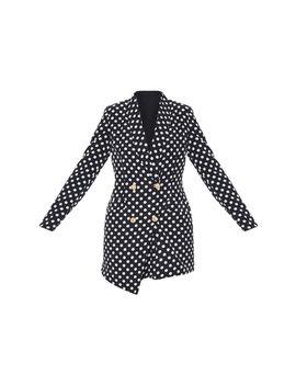 Black Polka Dot Gold Button Blazer Dress by Prettylittlething