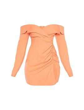 Chestnut Bardot Ruched Detail Blazer Dress by Prettylittlething