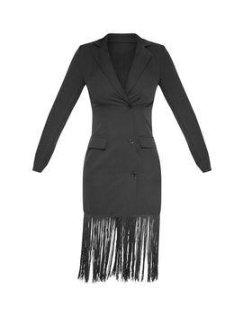 Black Tassel Open Back Blazer Dress by Prettylittlething