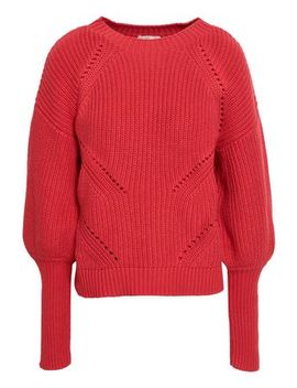 Pointelle Trimmed Ribbed Cotton And Cashmere Blend Sweater by Joie