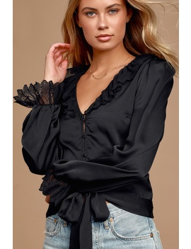 You're Mine Black Satin Ruffled Tie Front Top by Lulus