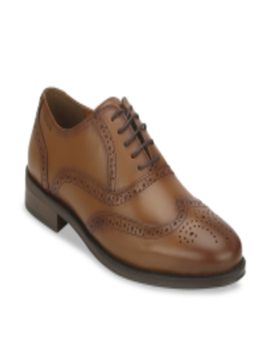 Men Tan Brown Solid Leather Formal Brogues by Red Tape
