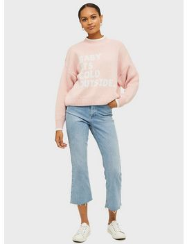 Pink 'Baby Its Cold Outside' Knitted Jumper by Miss Selfridge
