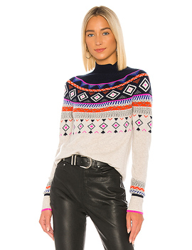 Fair Isle Mock Neck In Mojave & Navy by Autumn Cashmere